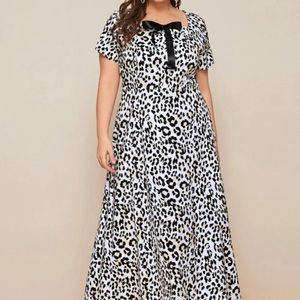 Plus size cheetah print dress
